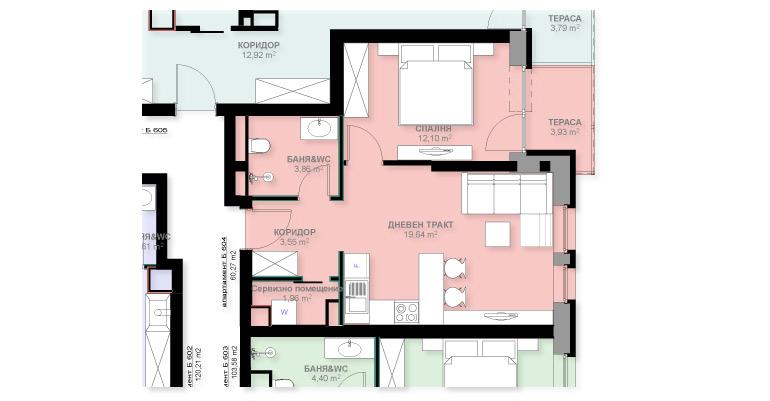 Апартамент Б604
